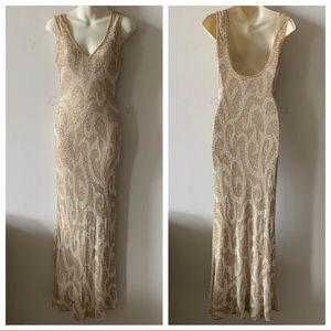 Vintage silk gatsby Art Deco beaded prom dress